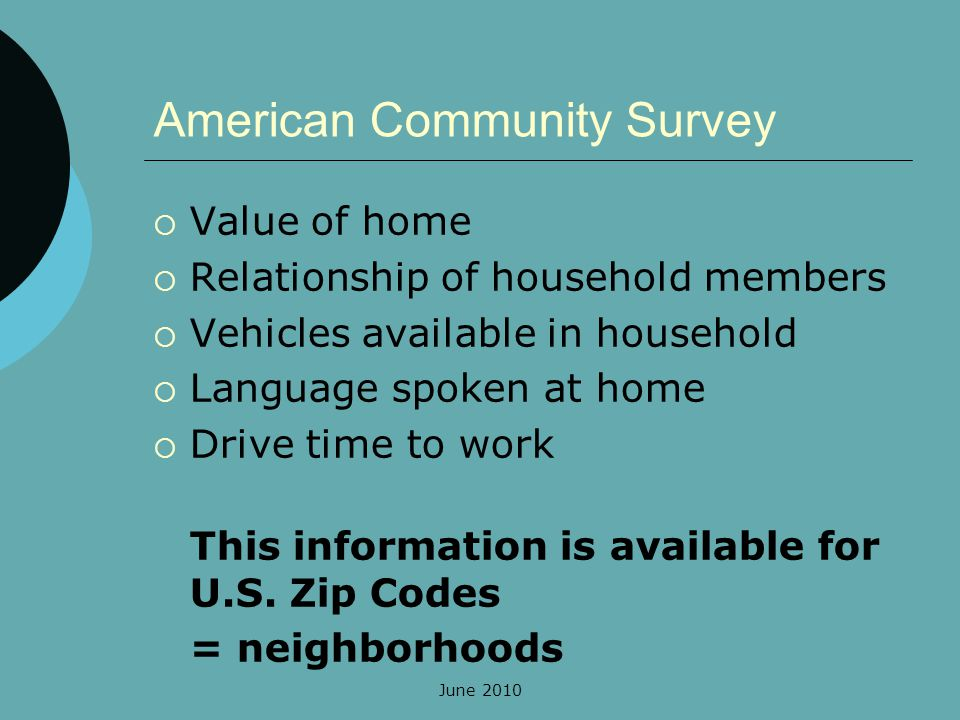 June 2010 American Community Survey Value of home Relationship of household members Vehicles available in household Language spoken at home Drive time