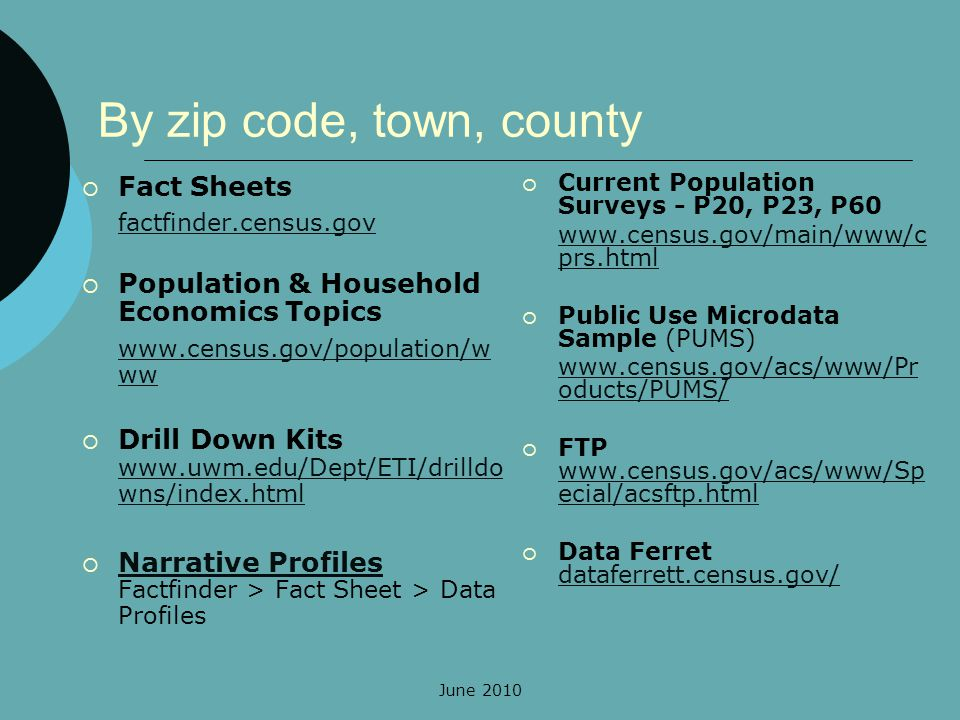 June 2010 By zip code, town, county Fact Sheets factfinder.census.gov Population & Household Economics Topics www.census.gov/population/w ww Drill Down Kits www.uwm.edu/Dept/ETI/drilldo wns/index.html www.uwm.edu/Dept/ETI/drilldo wns/index.html Narrative Profiles Factfinder > Fact Sheet > Data Profiles Narrative Profiles Current Population Surveys - P20, P23, P60 www.census.gov/main/www/c prs.html Public Use Microdata Sample (PUMS) www.census.gov/acs/www/Pr oducts/PUMS/ FTP www.census.gov/acs/www/Sp ecial/acsftp.html www.census.gov/acs/www/Sp ecial/acsftp.html Data Ferret dataferrett.census.gov/ dataferrett.census.gov/