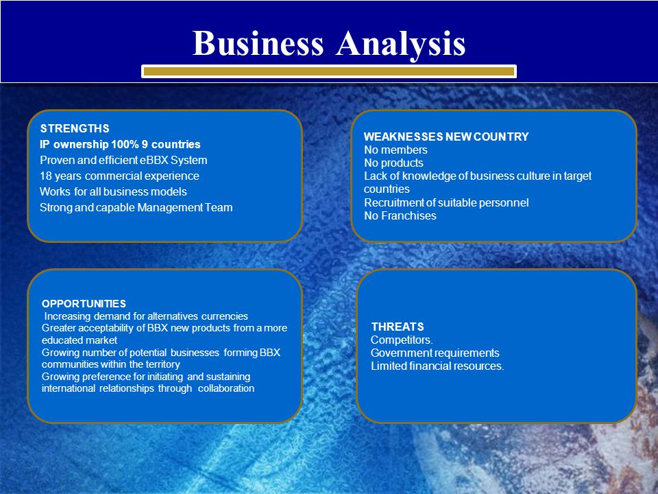 Business Analysis STRENGTHS IP ownership 100% 9 countries Proven and efficient eBBX System 18 years commercial experience Works for all business model