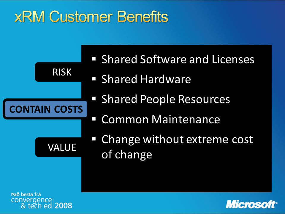 RISK VALUE Shared Software and Licenses Shared Hardware Shared People Resources Common Maintenance Change without extreme cost of change CONTAIN COSTS