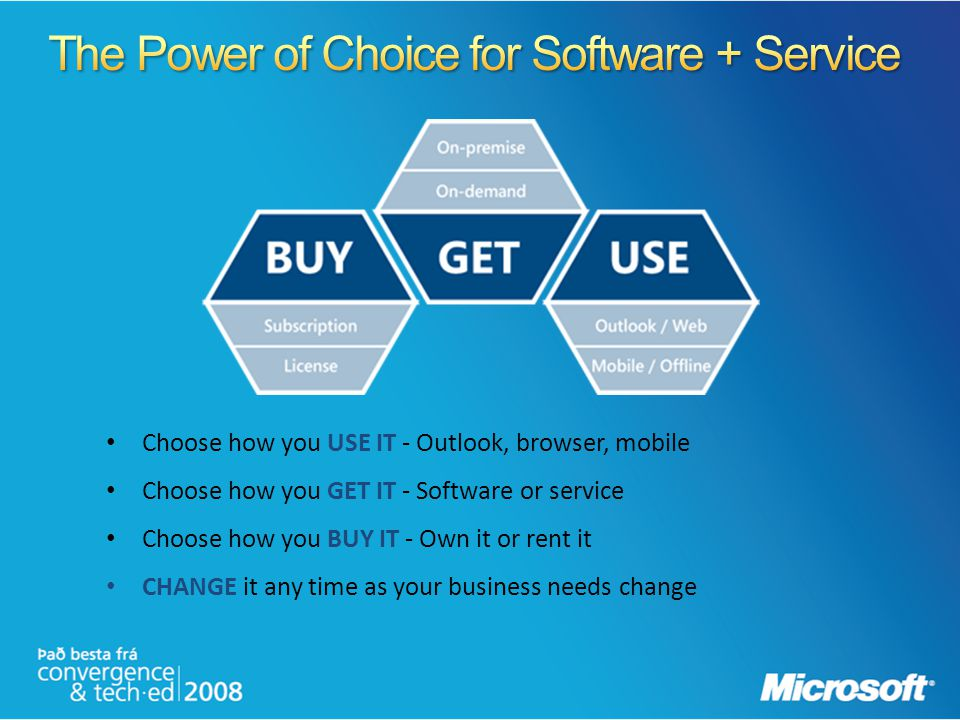 Choose how you USE IT - Outlook, browser, mobile Choose how you GET IT - Software or service Choose how you BUY IT - Own it or rent it CHANGE it any t
