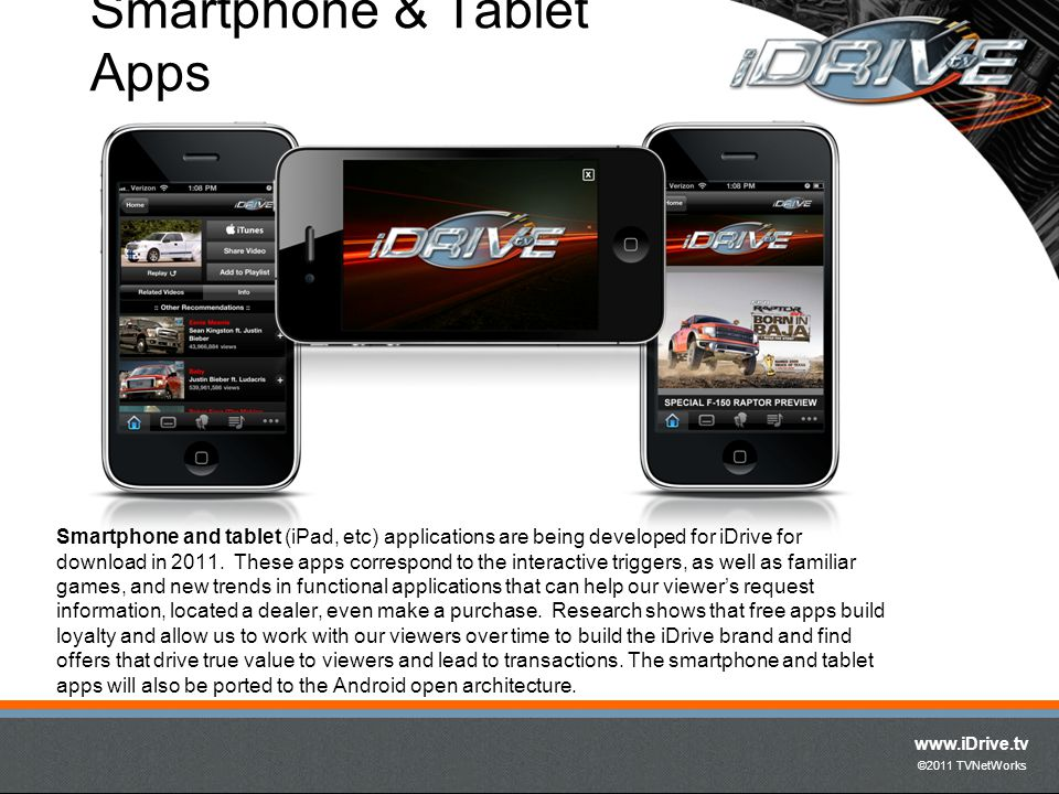 www.iDrive.tv ©2011 TVNetWorks Smartphone & Tablet Apps Smartphone and tablet (iPad, etc) applications are being developed for iDrive for download in