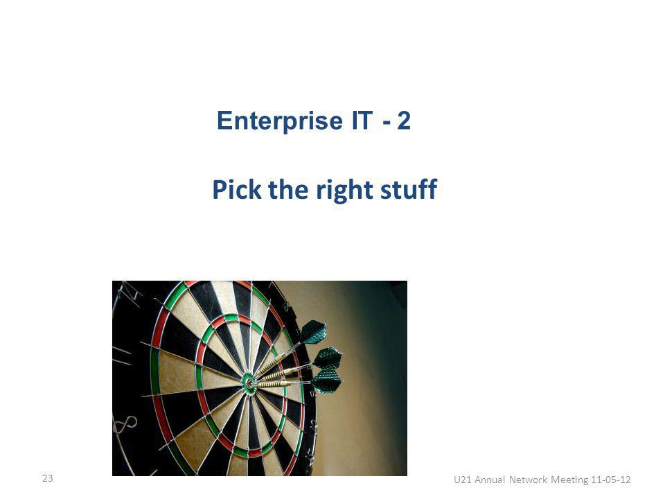Pick the right stuff U21 Annual Network Meeting 11-05-12 23 Enterprise IT - 2