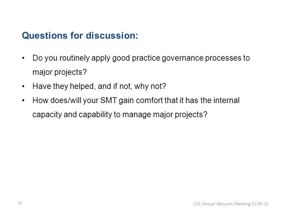 37 Questions for discussion: Do you routinely apply good practice governance processes to major projects.