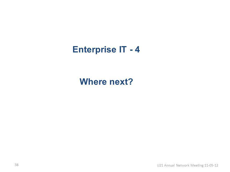 Where next? U21 Annual Network Meeting 11-05-12 38 Enterprise IT - 4