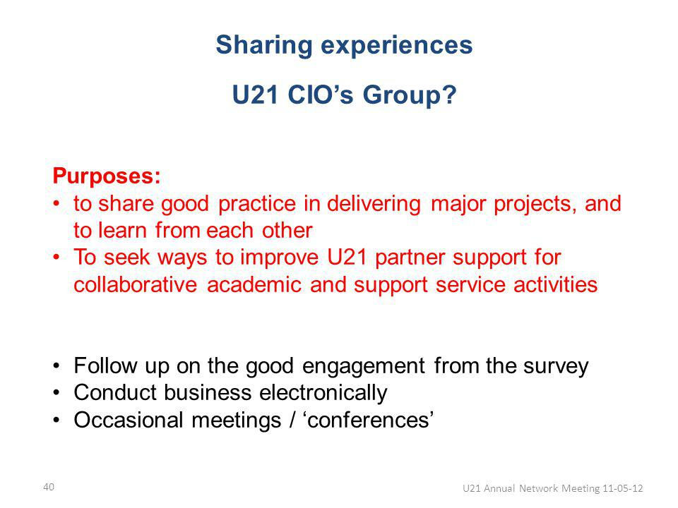 U21 Annual Network Meeting 11-05-12 40 Sharing experiences U21 CIOs Group.