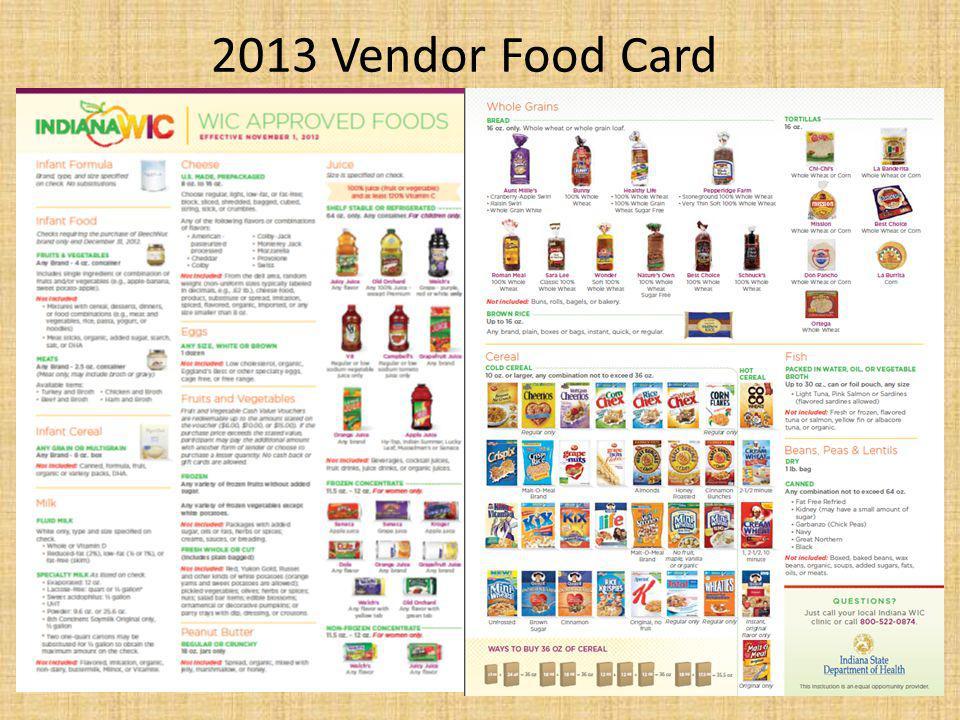 2013 Vendor Food Card