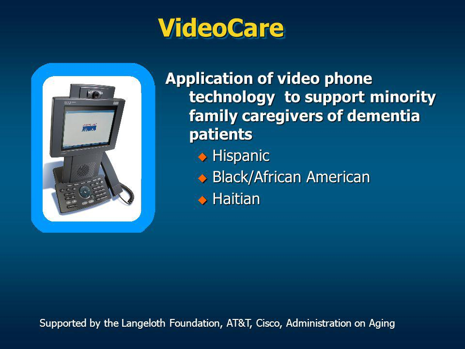 Videocare Intervention The Videocare intervention was designed to address multiple areas of caregiver risk: Individual counseling sessions Individual counseling sessions On-line support groups On-line support groups Educational Seminars Educational Seminars Resource Guide Resource Guide Information on a wide range of topics Information on a wide range of topics Caregiving Tips Caregiving Tips Conferencing Conferencing Reminders Reminders