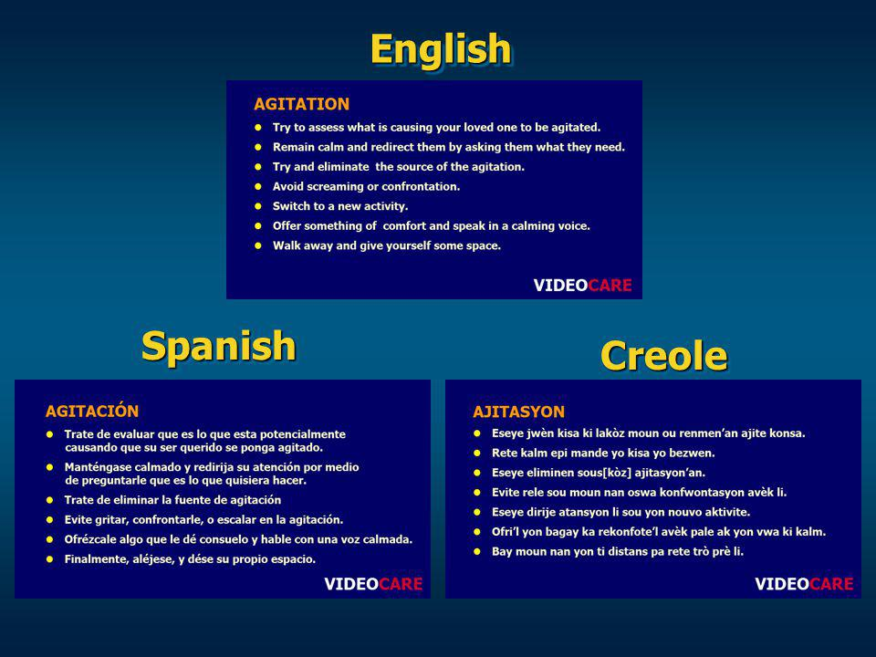 EnglishEnglish SpanishSpanish CreoleCreole