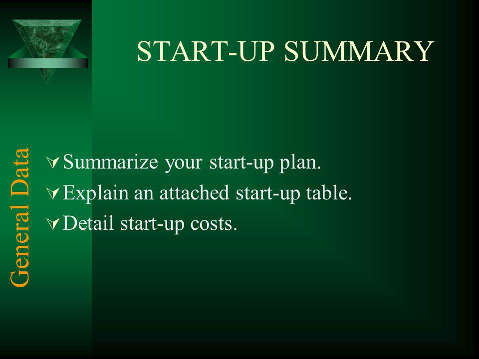 START-UP SUMMARY Summarize your start-up plan.Explain an attached start-up table.