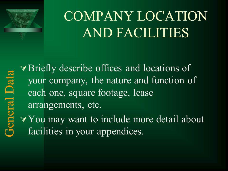 COMPANY LOCATION AND FACILITIES Briefly describe offices and locations of your company, the nature and function of each one, square footage, lease arrangements, etc.