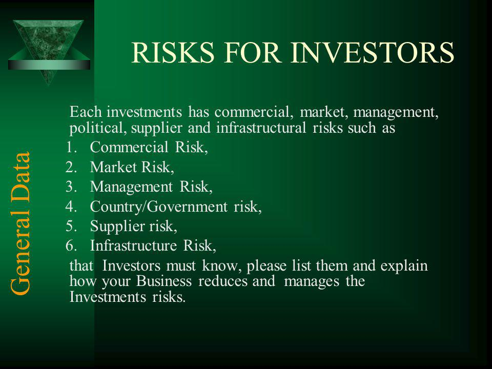 RISKS FOR INVESTORS Each investments has commercial, market, management, political, supplier and infrastructural risks such as 1.Commercial Risk, 2.Ma