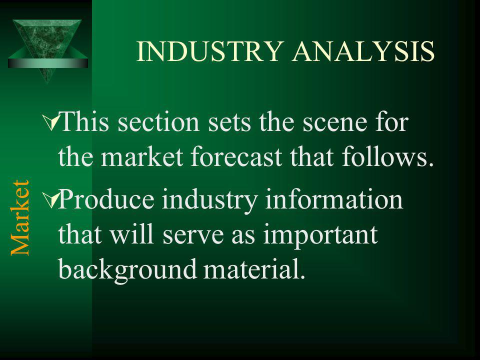 INDUSTRY ANALYSIS This section sets the scene for the market forecast that follows. Produce industry information that will serve as important backgrou
