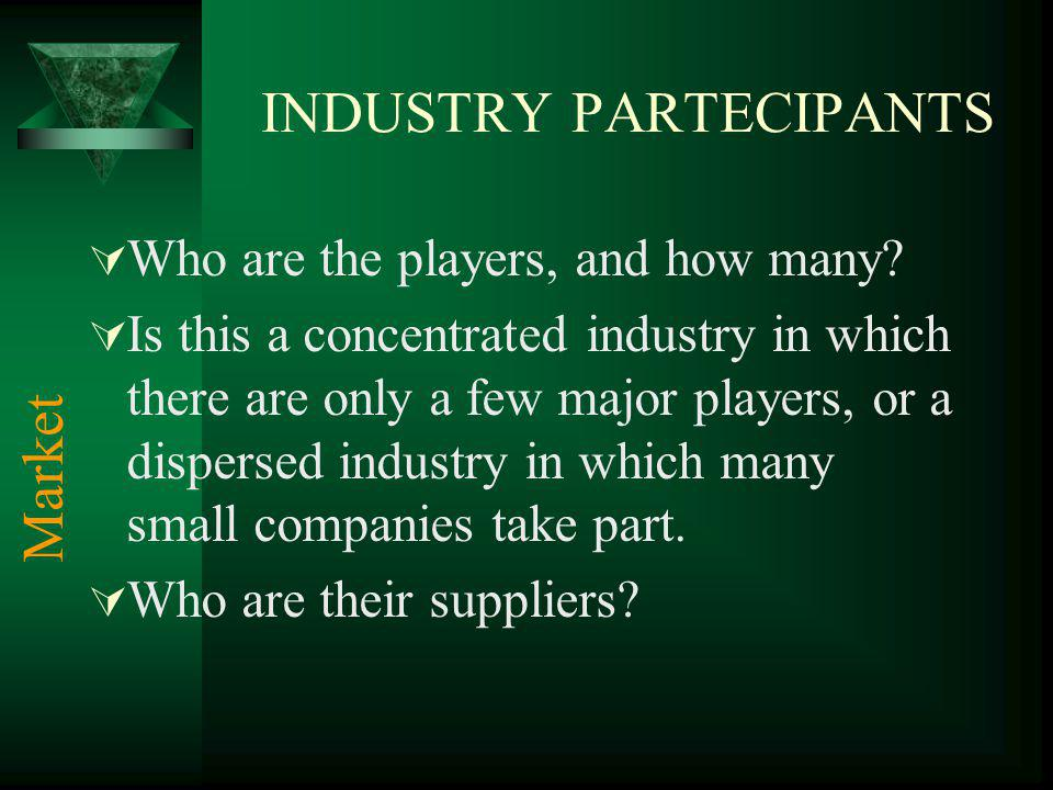 INDUSTRY PARTECIPANTS Who are the players, and how many.