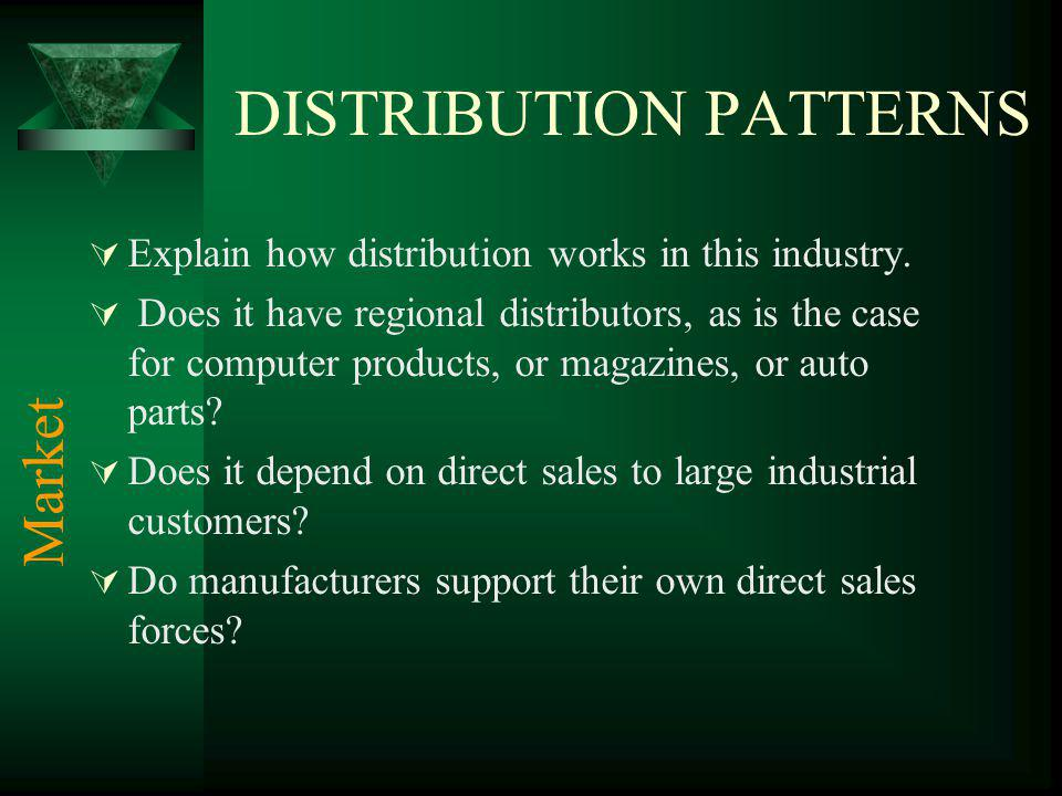 DISTRIBUTION PATTERNS Explain how distribution works in this industry.