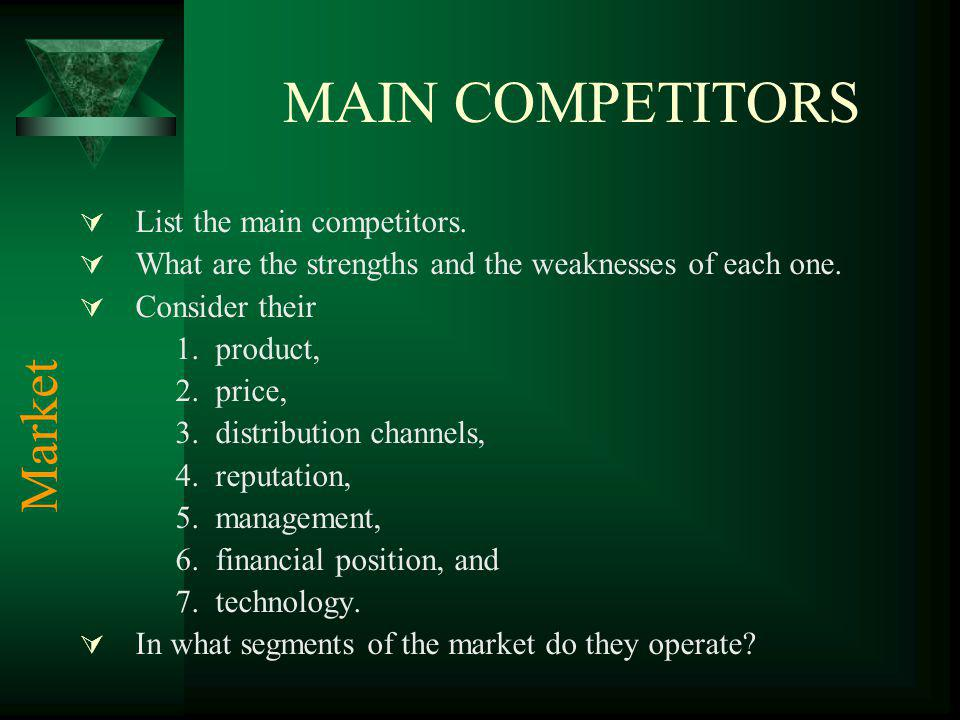 MAIN COMPETITORS List the main competitors. What are the strengths and the weaknesses of each one. Consider their 1.product, 2.price, 3.distribution c