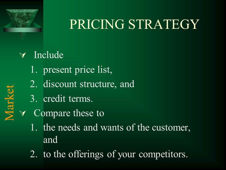 PRICING STRATEGY Include 1.present price list, 2.discount structure, and 3.credit terms.