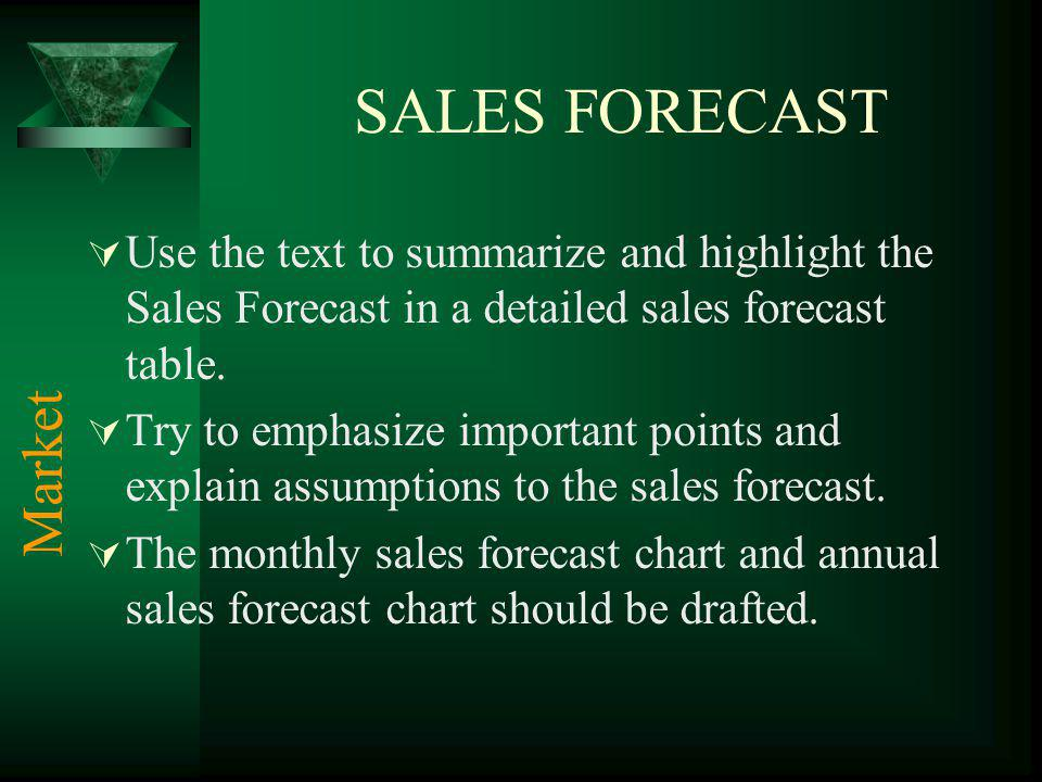SALES FORECAST Use the text to summarize and highlight the Sales Forecast in a detailed sales forecast table. Try to emphasize important points and ex