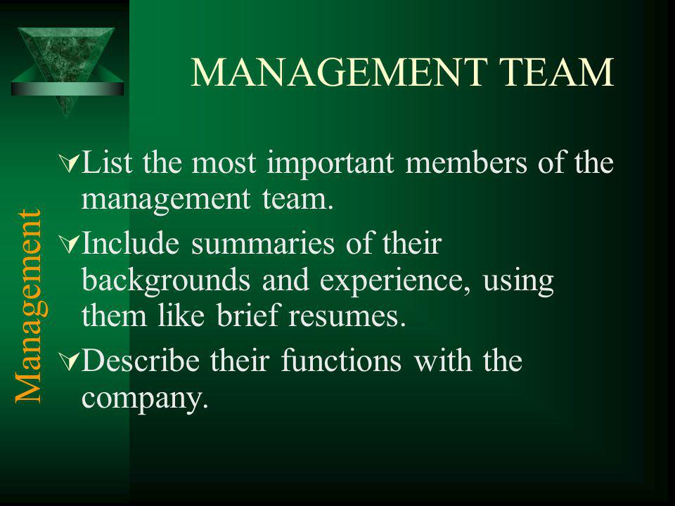 MANAGEMENT TEAM List the most important members of the management team.
