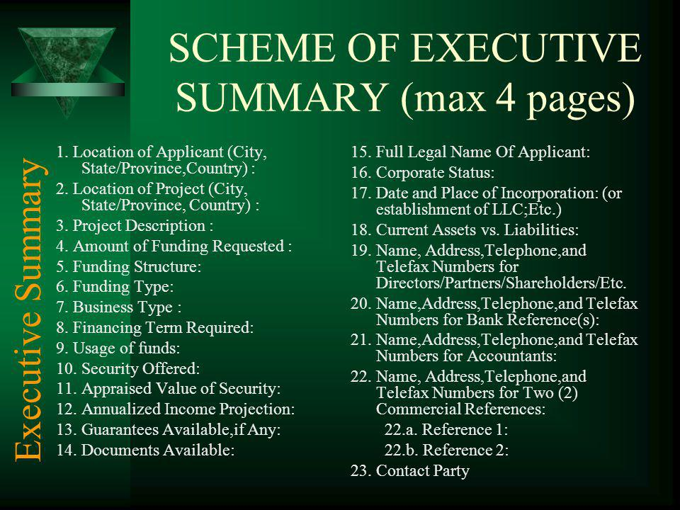 SCHEME OF EXECUTIVE SUMMARY (max 4 pages) 1. Location of Applicant (City, State/Province,Country) : 2. Location of Project (City, State/Province, Coun