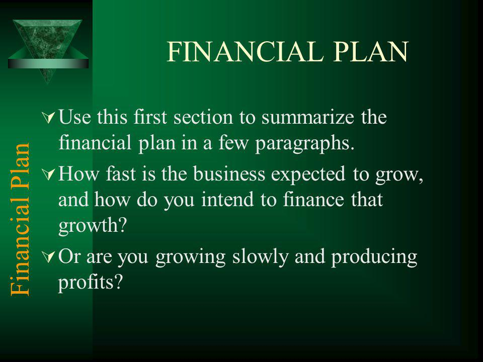 FINANCIAL PLAN Use this first section to summarize the financial plan in a few paragraphs.