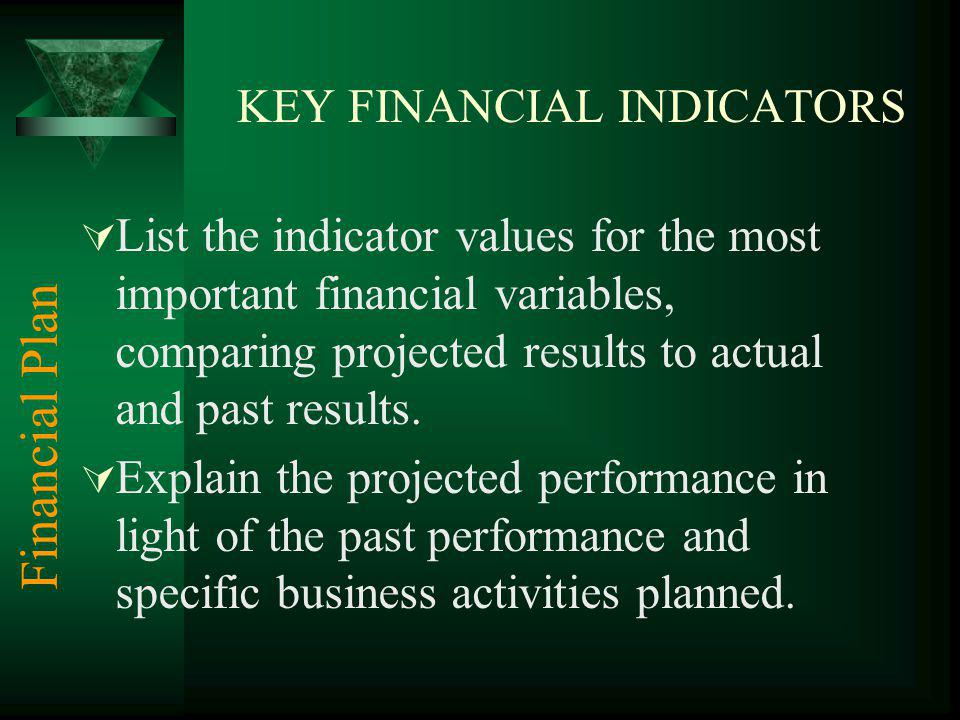 KEY FINANCIAL INDICATORS List the indicator values for the most important financial variables, comparing projected results to actual and past results.