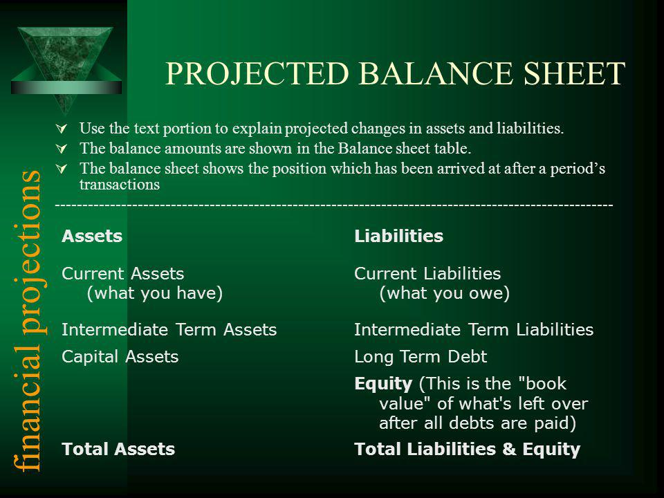 PROJECTED BALANCE SHEET Use the text portion to explain projected changes in assets and liabilities.