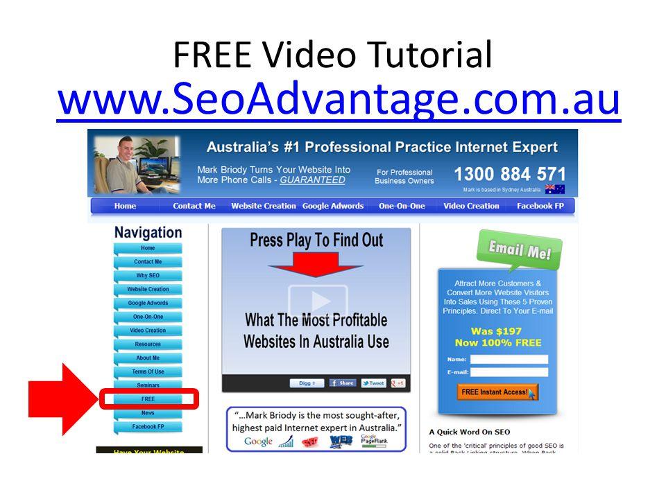 FREE Video Tutorial www.SeoAdvantage.com.au