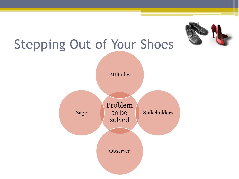 Stepping Out of Your Shoes Problem to be solved Attitudes Stakeholders Observer Sage