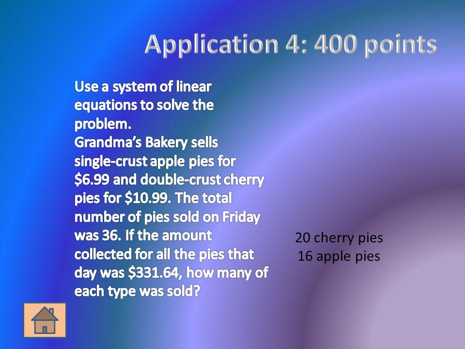 20 cherry pies 16 apple pies