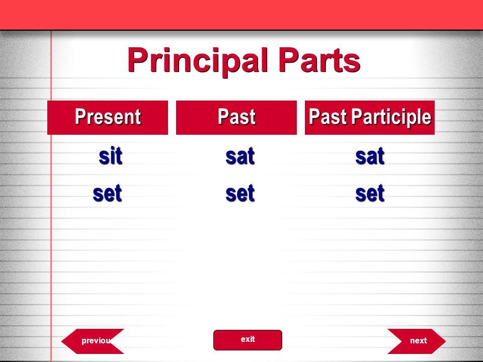 Principal Parts 8.23PresentPast Past Participle sitsatsat setsetset nextprevious exit