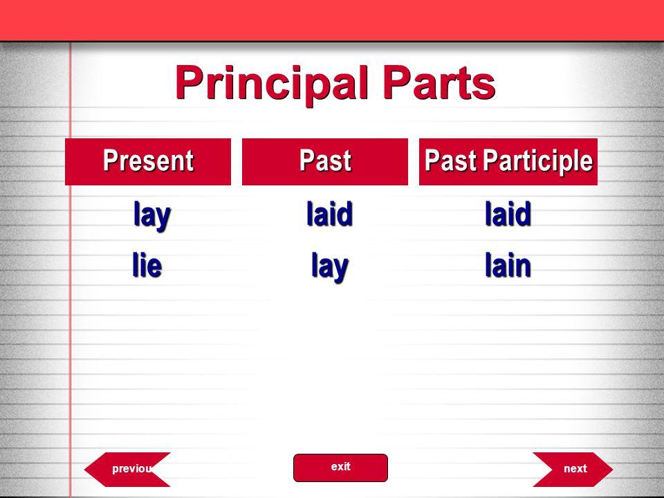Principal Parts 8.30PresentPast Past Participle laylaidlaid lielaylain nextprevious exit