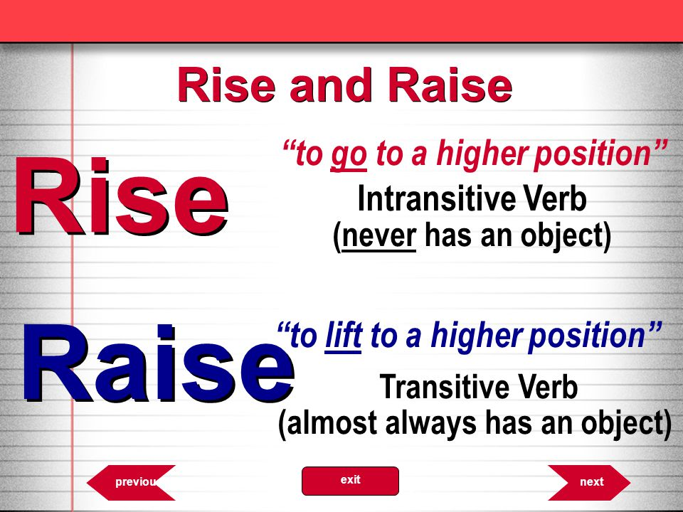 Rise to go to a higher position Intransitive Verb (never has an object) Raise to lift to a higher position Transitive Verb (almost always has an objec