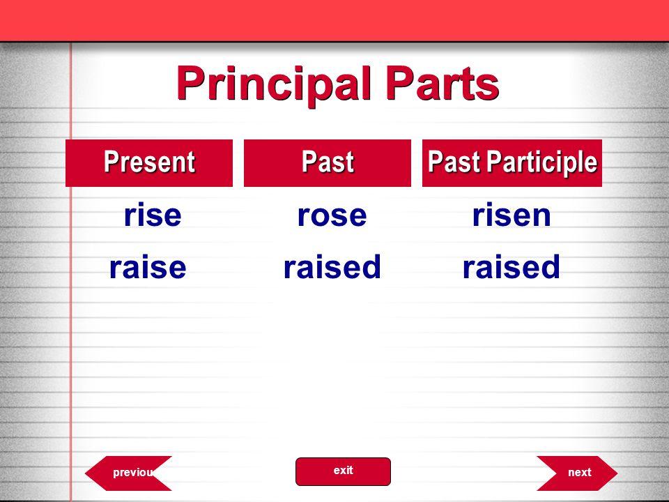 Principal Parts 8.37PresentPast Past Participle riseroserisen raiseraisedraised nextprevious exit