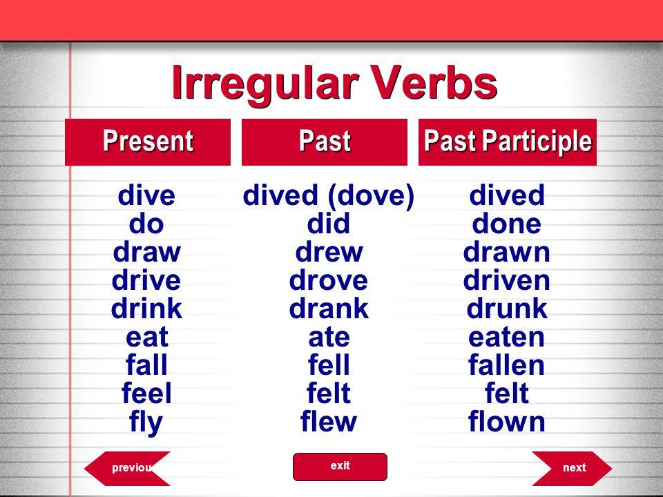 Irregular Verbs 8.10PresentPast Past Participle divedived (dove)dived dodiddone drawdrewdrawn drivedrovedriven drinkdrankdrunk eatateeaten fallfellfal