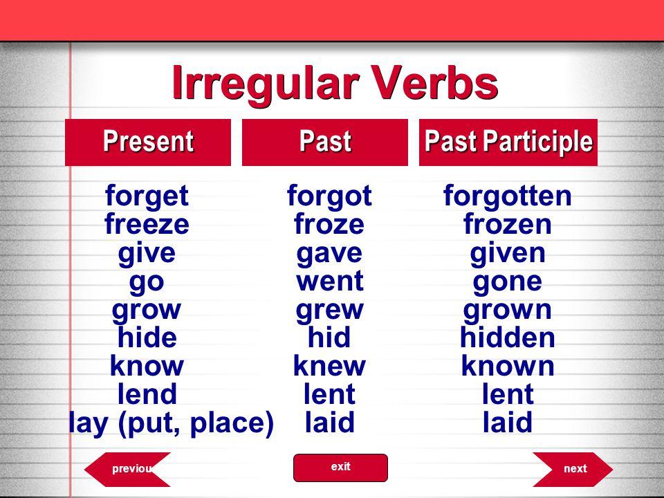 Irregular Verbs 8.11PresentPast Past Participle forgetforgotforgotten freezefrozefrozen givegavegiven gowentgone growgrewgrown hidehidhidden knowknewk