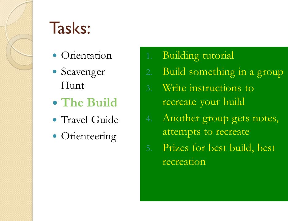 Tasks: Orientation Scavenger Hunt The Build Travel Guide Orienteering 1. Building tutorial 2. Build something in a group 3. Write instructions to recr