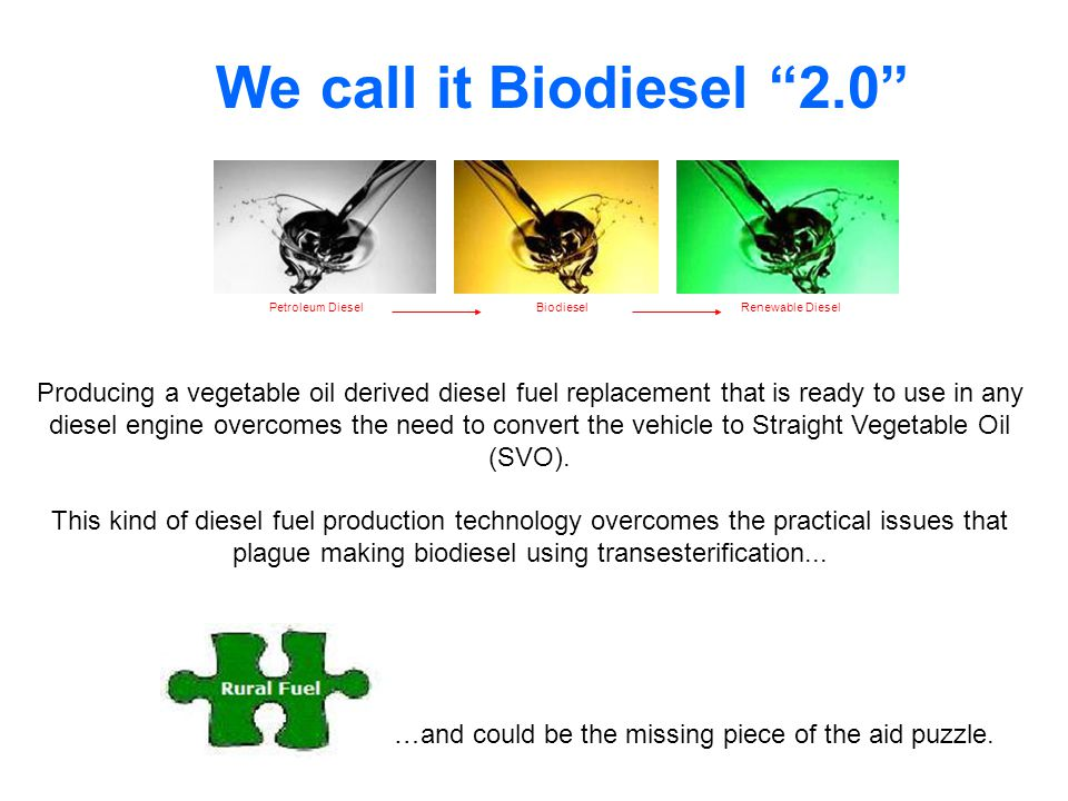 Petroleum DieselBiodieselRenewable Diesel We call it Biodiesel 2.0 Producing a vegetable oil derived diesel fuel replacement that is ready to use in any diesel engine overcomes the need to convert the vehicle to Straight Vegetable Oil (SVO).