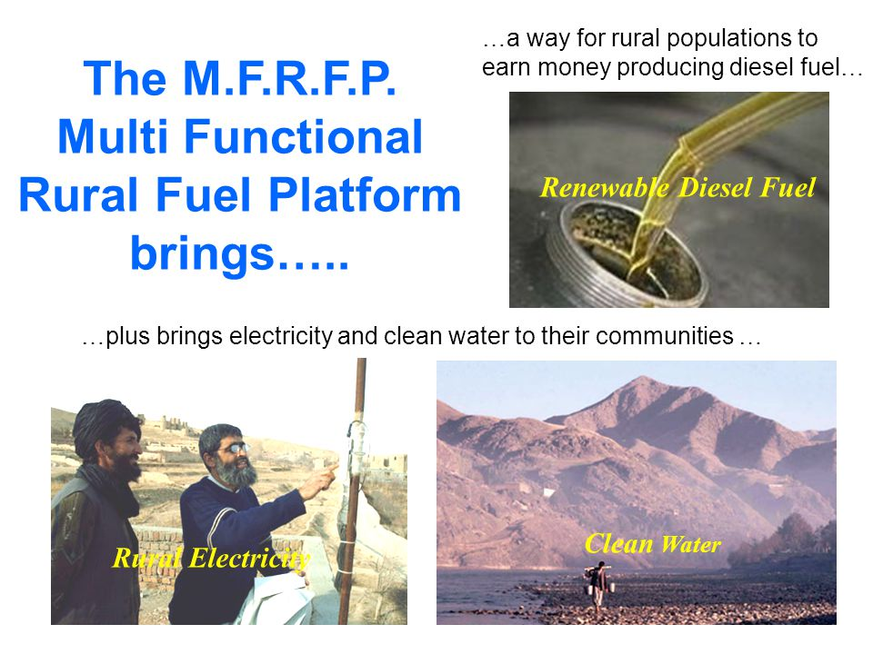 The M.F.R.F.P. Multi Functional Rural Fuel Platform brings…..