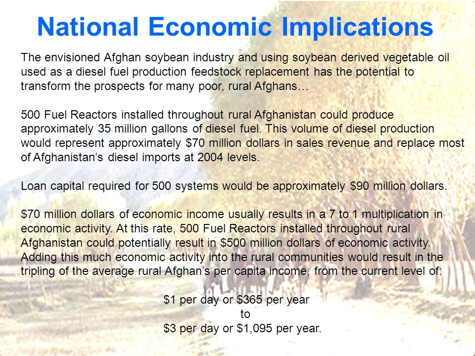 National Economic Implications The envisioned Afghan soybean industry and using soybean derived vegetable oil used as a diesel fuel production feedstock replacement has the potential to transform the prospects for many poor, rural Afghans… 500 Fuel Reactors installed throughout rural Afghanistan could produce approximately 35 million gallons of diesel fuel.