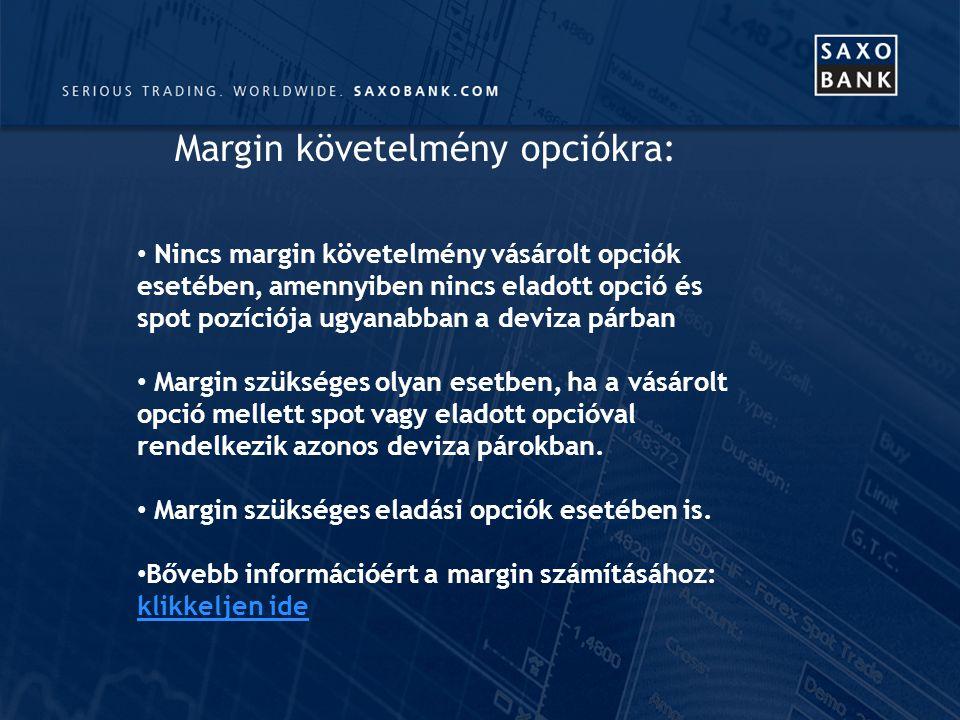 Nincs margin követelmény vásárolt opciók esetében, amennyiben nincs eladott opció és spot pozíciója ugyanabban a deviza párban Margin szükséges olyan esetben, ha a vásárolt opció mellett spot vagy eladott opcióval rendelkezik azonos deviza párokban.
