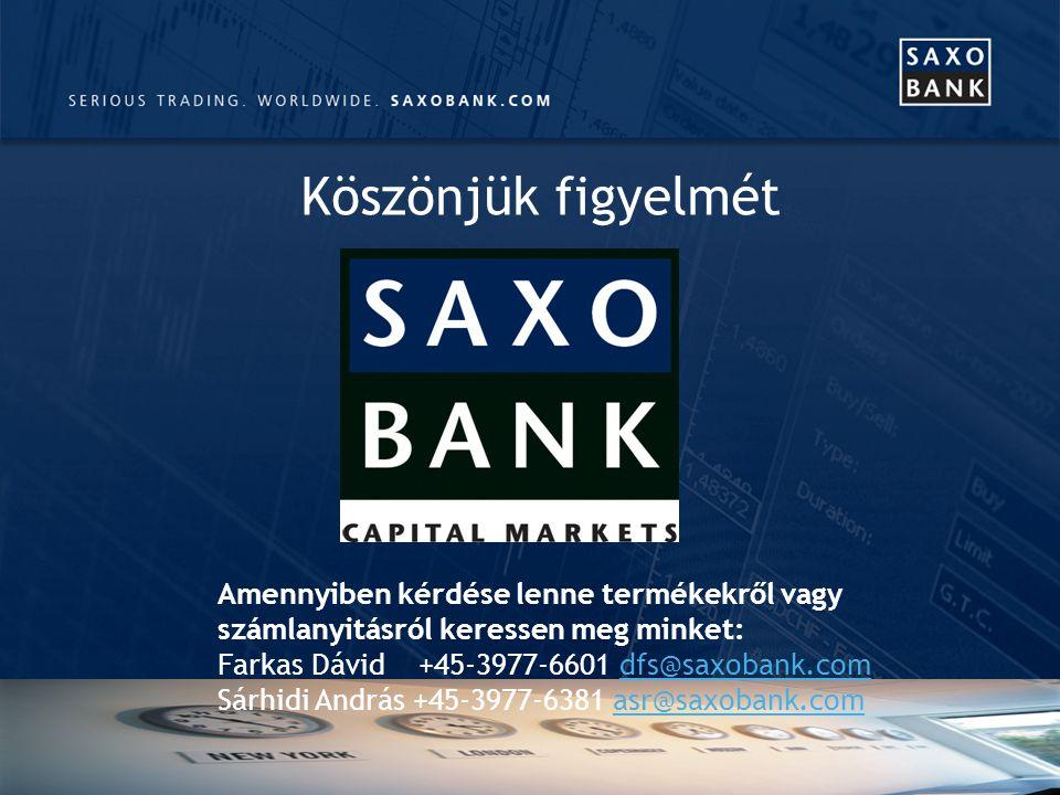 Köszönjük figyelmét Amennyiben kérdése lenne termékekről vagy számlanyitásról keressen meg minket: Farkas Dávid +45-3977-6601 dfs@saxobank.comdfs@saxobank.com Sárhidi András +45-3977-6381 asr@saxobank.comasr@saxobank.com