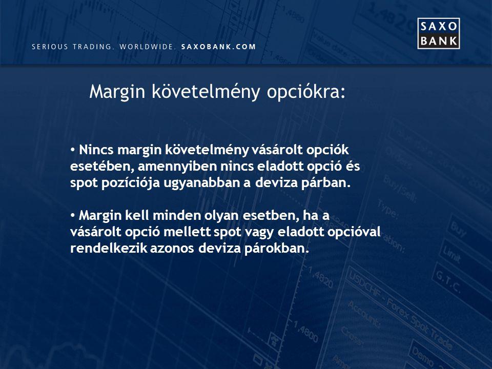 Nincs margin követelmény vásárolt opciók esetében, amennyiben nincs eladott opció és spot pozíciója ugyanabban a deviza párban.