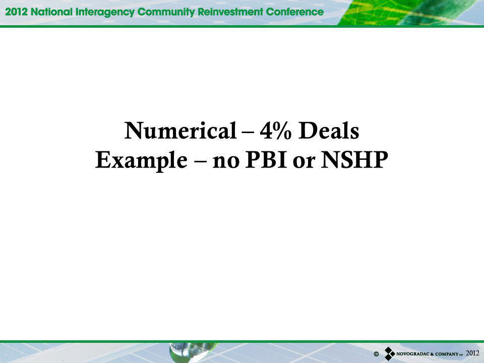 Numerical – 4% Deals Example – no PBI or NSHP