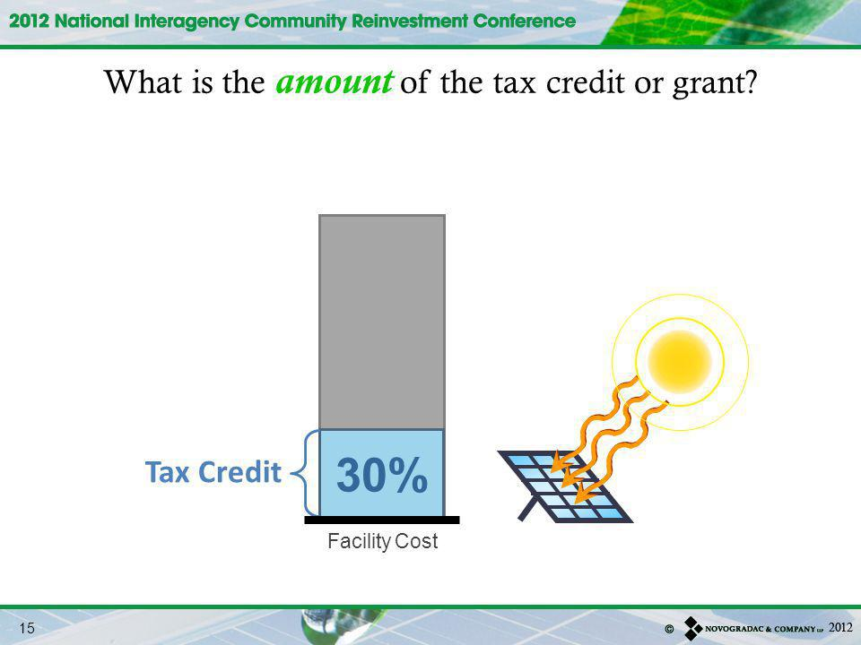 Facility Cost What is the amount of the tax credit or grant? 30% Tax Credit 15