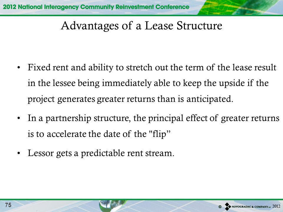 Fixed rent and ability to stretch out the term of the lease result in the lessee being immediately able to keep the upside if the project generates greater returns than is anticipated.