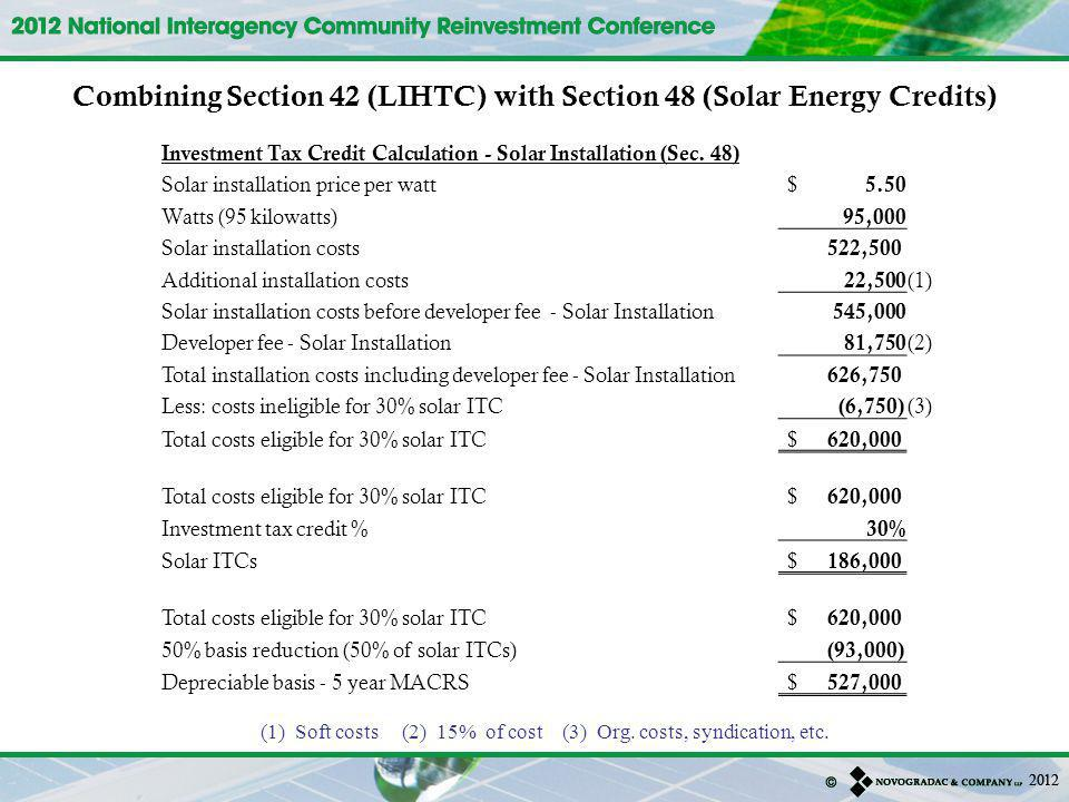 Investment Tax Credit Calculation - Solar Installation (Sec.