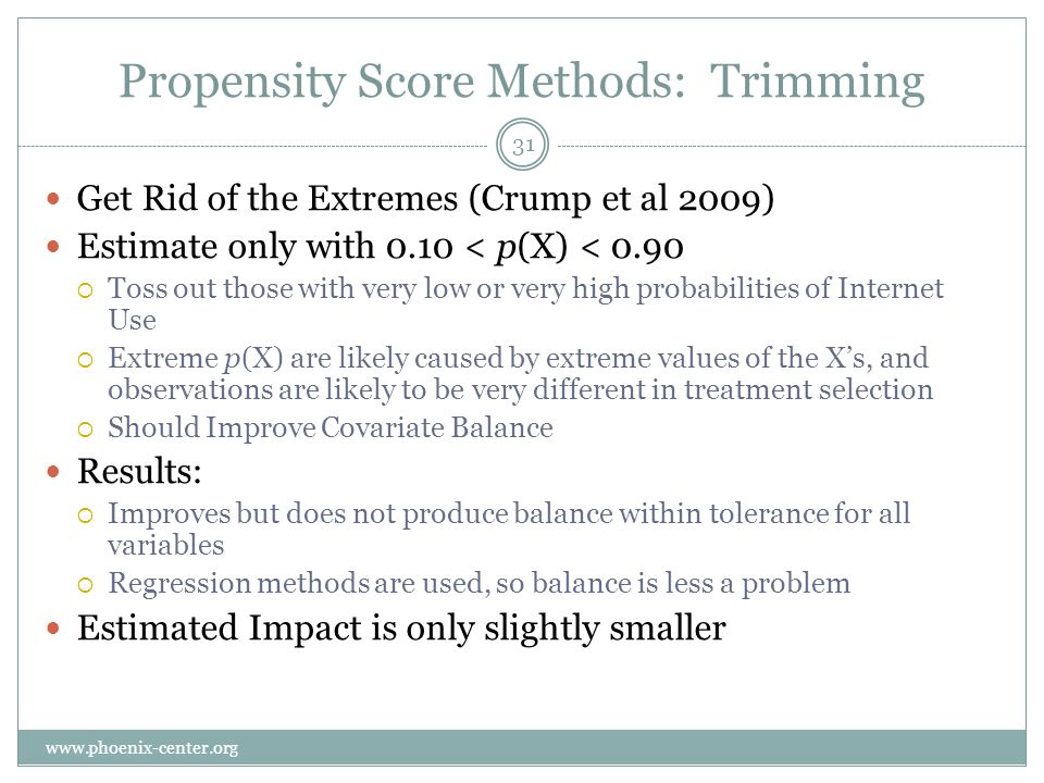 Propensity Score Methods: Trimming Get Rid of the Extremes (Crump et al 2009) Estimate only with 0.10 < p(X) < 0.90 Toss out those with very low or very high probabilities of Internet Use Extreme p(X) are likely caused by extreme values of the Xs, and observations are likely to be very different in treatment selection Should Improve Covariate Balance Results: Improves but does not produce balance within tolerance for all variables Regression methods are used, so balance is less a problem Estimated Impact is only slightly smaller 31 www.phoenix-center.org