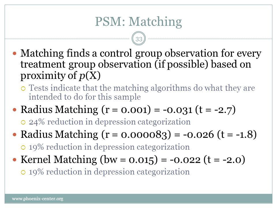 PSM: Matching Matching finds a control group observation for every treatment group observation (if possible) based on proximity of p(X) Tests indicate that the matching algorithms do what they are intended to do for this sample Radius Matching (r = 0.001) = -0.031 (t = -2.7) 24% reduction in depression categorization Radius Matching (r = 0.000083) = -0.026 (t = -1.8) 19% reduction in depression categorization Kernel Matching (bw = 0.015) = -0.022 (t = -2.0) 19% reduction in depression categorization 33 www.phoenix-center.org