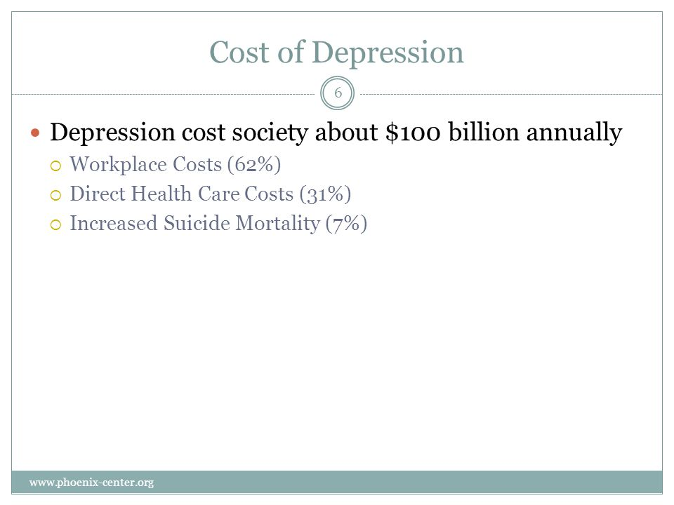 Cost of Depression Depression cost society about $100 billion annually Workplace Costs (62%) Direct Health Care Costs (31%) Increased Suicide Mortality (7%) 6 www.phoenix-center.org